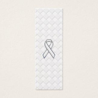 Chrome White Ribbon Awareness on Checkers Print Mini Business Card