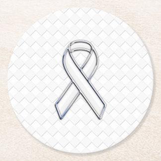 Chrome White Ribbon Awareness on Checkers Round Paper Coaster