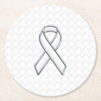 Chrome White Ribbon Awareness on Checkers Round Paper Coaster