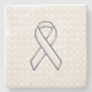 Chrome White Ribbon Awareness on Checkers Stone Coaster
