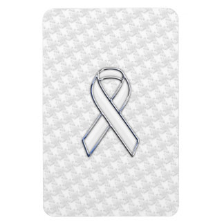 Chrome White Ribbon Awareness on Houndstooth Print Magnet