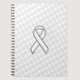 Chrome White Ribbon Awareness on Houndstooth Print Notebook