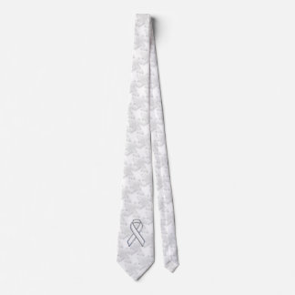 Chrome White Ribbon Awareness on Houndstooth Print Tie