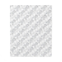 Chrome White Ribbon Awareness on Houndstooth Style Fleece Blanket