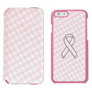 Chrome White Ribbon Awareness on Houndstooth Style iPhone 6/6s Wallet Case