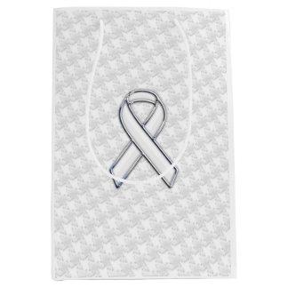 Chrome White Ribbon Awareness on Houndstooth Style Medium Gift Bag