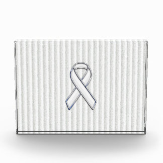 Chrome White Ribbon Awareness on Vertical Stripes Acrylic Award