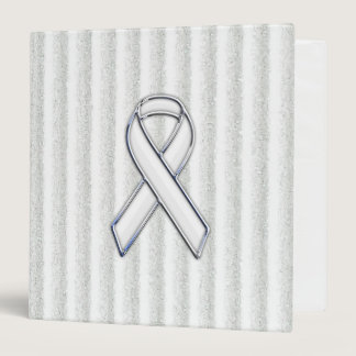 Chrome White Ribbon Awareness on Vertical Stripes Binder