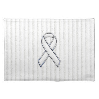 Chrome White Ribbon Awareness on Vertical Stripes Cloth Placemat