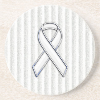 Chrome White Ribbon Awareness on Vertical Stripes Coaster