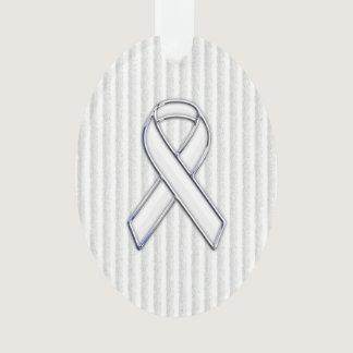 Chrome White Ribbon Awareness on Vertical Stripes Ornament