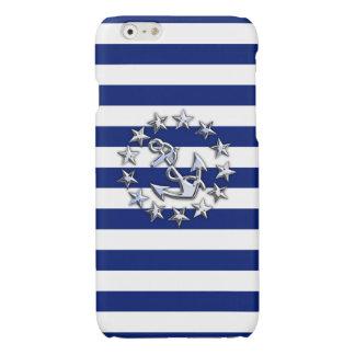 Chrome Yacht Flag Print on Navy Stripes Glossy iPhone 6 Case