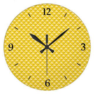 Chrome yellow, enamel look, studded grid large clock
