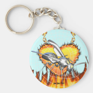 Chrome yellow jacket design 1 with fire and web. basic round button keychain