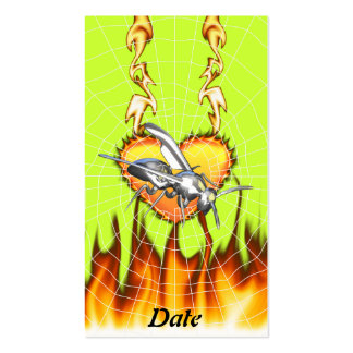 Chrome yellow jacket design 1 with fire and web. business card template