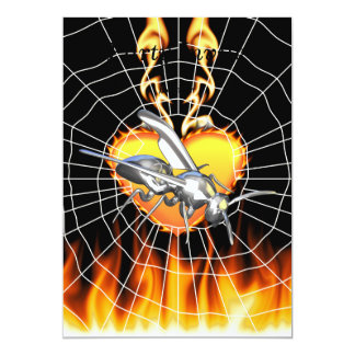 """Chrome yellow jacket design 1 with fire and web. 5"""" x 7"""" invitation card"""