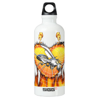 Chrome yellow jacket design 1 with fire and web. SIGG traveler 0.6L water bottle