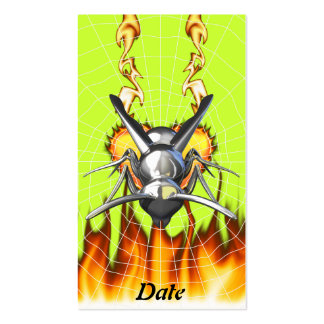 Chrome yellow jacket design 3 with fire and web. business card