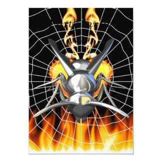 Chrome yellow jacket design 3 with fire and web. card