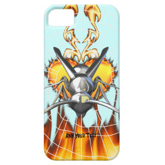 Chrome yellow jacket design 3 with fire and web. iPhone 5 cover