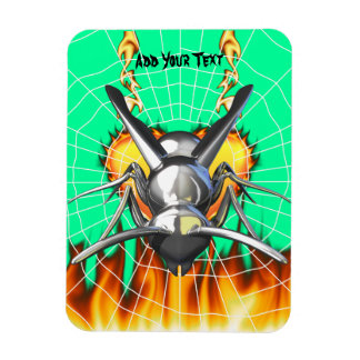 Chrome yellow jacket design 3 with fire and web. magnet