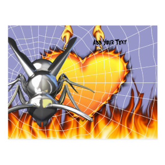 Chrome yellow jacket design 3 with fire and web. postcard
