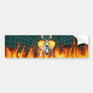 Chrome yellow jacket design 4 with fire and web. bumper stickers