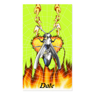 Chrome yellow jacket design 4 with fire and web. business cards