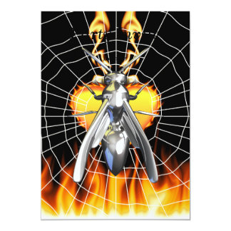 Chrome yellow jacket design 4 with fire and web. card