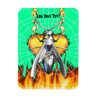 Chrome yellow jacket design 4 with fire and web. magnet