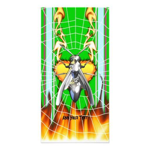 Chrome yellow jacket design 4 with fire and web. photo card