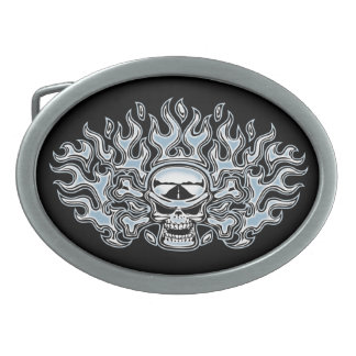 Chromeboy Crossbones Oval Belt Buckle