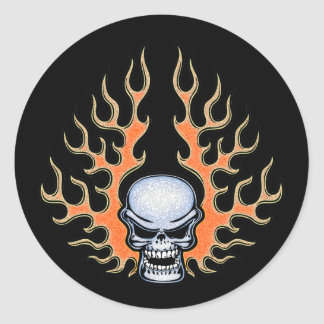 Chromeboy -Flames Classic Round Sticker