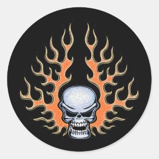 Chromeboy -Flames Classic Round Sticker