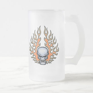 Chromeboy -Flames Frosted Glass Beer Mug