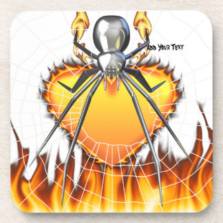Chromed Black Widow Design 3 Beverage Coaster