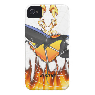 Chromed praying mantis design 1 with fire and web iPhone 4 Case-Mate case