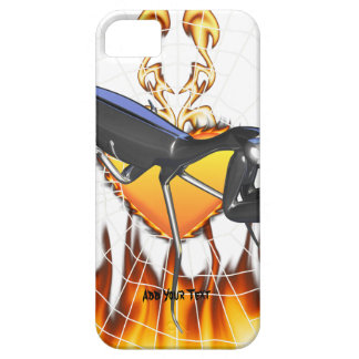 Chromed praying mantis design 1 with fire and web iPhone 5 cases
