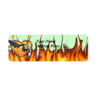 Chromed praying mantis design 1 with fire and web label