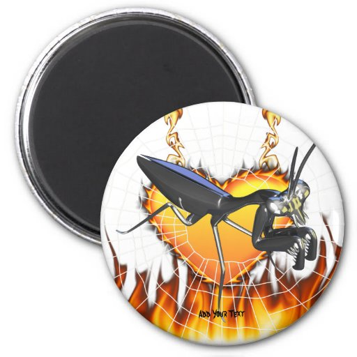 Chromed praying mantis design 1 with fire and web fridge magnets