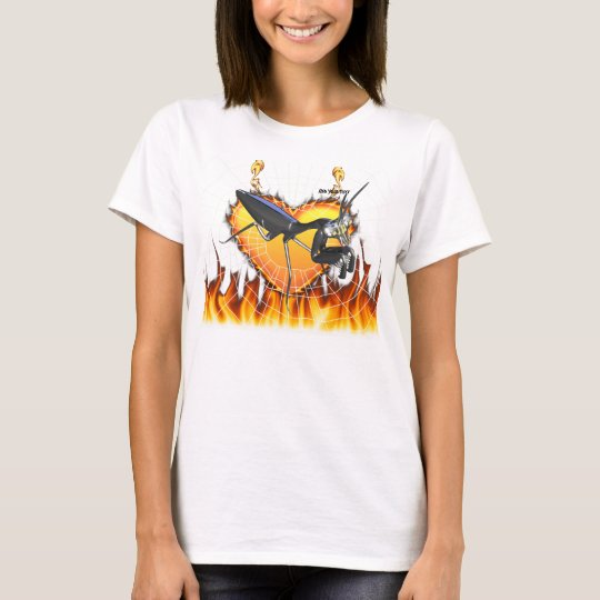 Chromed praying mantis design 1 with fire and web T-Shirt