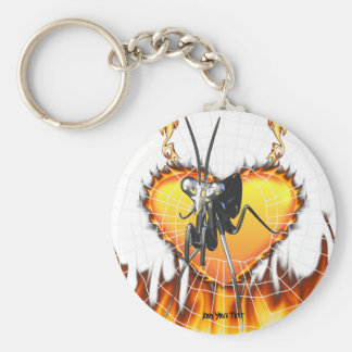 Chromed praying mantis design 2 with fire and web. basic round button keychain