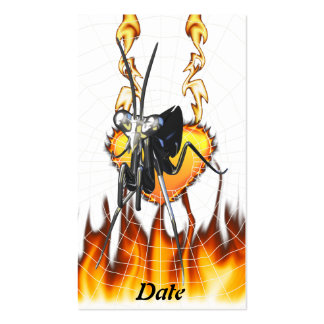 Chromed praying mantis design 2 with fire and web. business cards