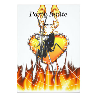 """Chromed praying mantis design 2 with fire and web. 5"""" x 7"""" invitation card"""