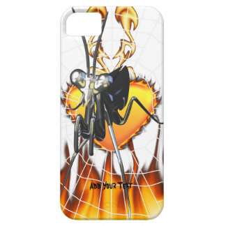 Chromed praying mantis design 2 with fire and web. iPhone 5 cases