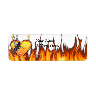 Chromed praying mantis design 2 with fire and web. label