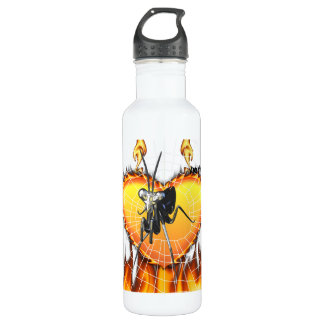 Chromed praying mantis design 2 with fire and web. 24oz water bottle