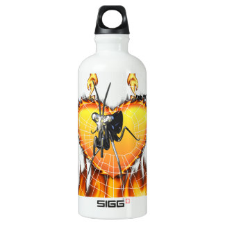 Chromed praying mantis design 2 with fire and web. SIGG traveler 0.6L water bottle