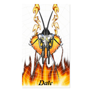 Chromed praying mantis design 3 with fire and web. business card template