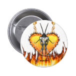 Chromed praying mantis design 3 with fire and web. pinback buttons